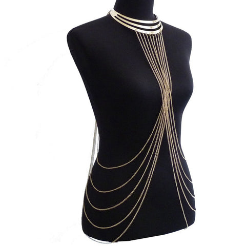 Sexy Lady's Layered Crossover Body Chain Gold Color Multilayer Tassel Necklace Bikini Waist Belly Chain Boho Beach Body Jewelry