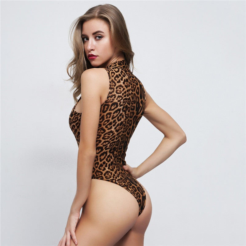 High neck sleeveless leopard print bodysuit autumn winter women fashion sexy body con body