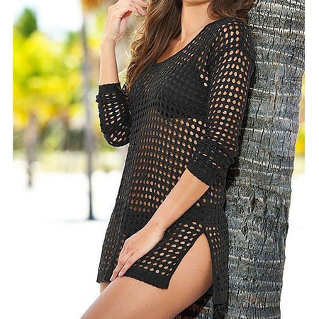 Sheer See Through Knitted Tunic - Beach Cover Up