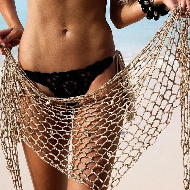 Shell Crochet Wrap Bikini Cover Up - 7 Colors