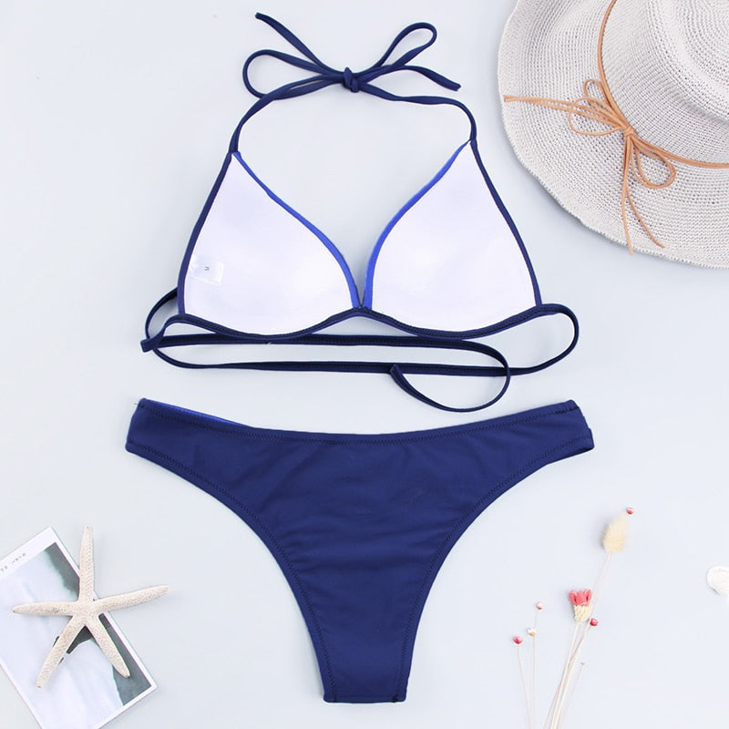 Push Up Bikini - Blue/Black