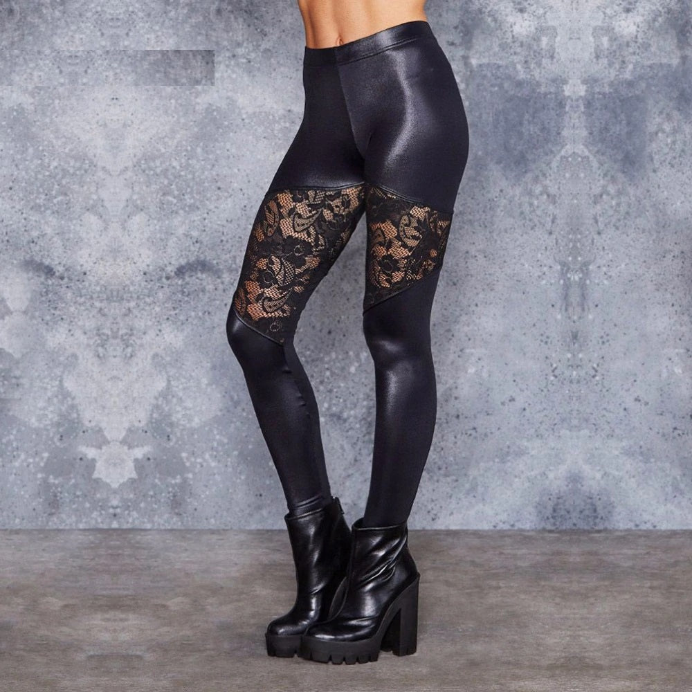 Women leggings sexy Leather pants flower Lace mesh stitching solid black long pants for Nightclub Dancing