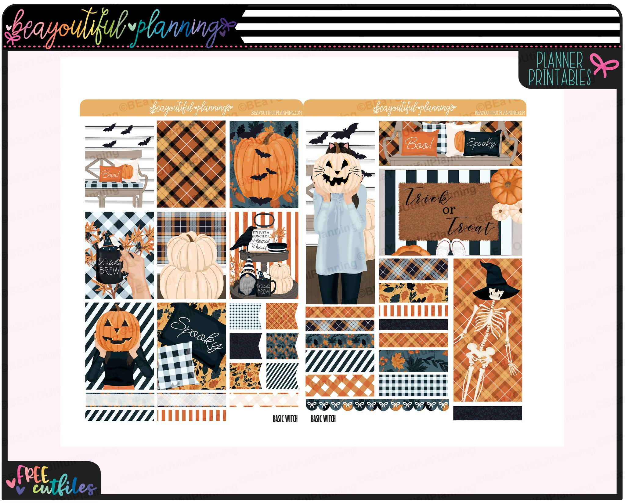 Basic Witch Weekly Printable Planner Stickers