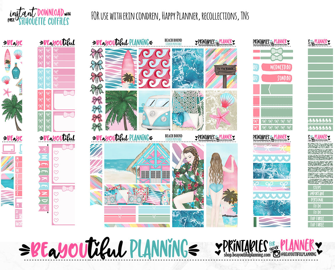 Beach Bound Printable Planner Stickers