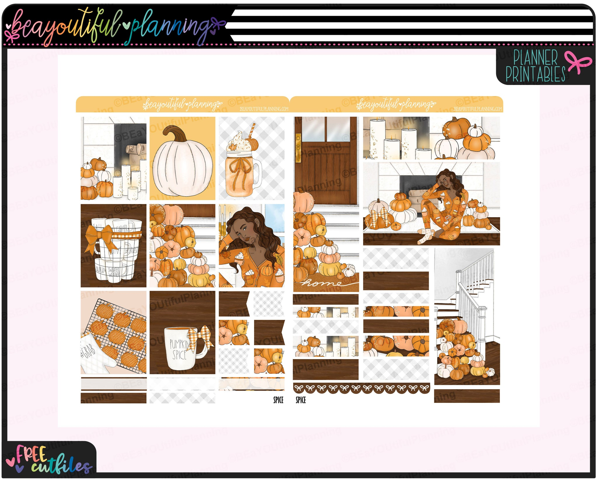 Pumpkin Spice Weekly Printable Planner Stickers
