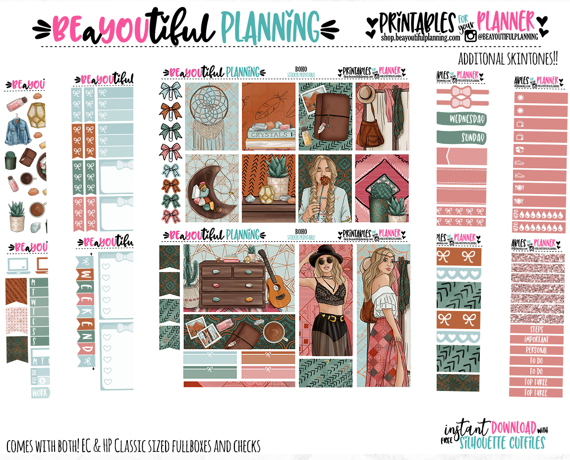 Boho Spring Printable Planner Stickers