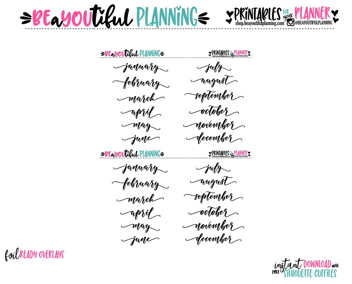 Monthly Script Foil Ready Printable
