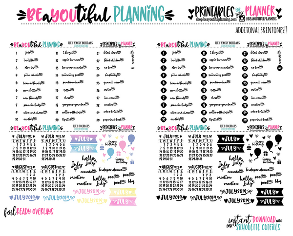 July 2019 Monthly Holiday Printable