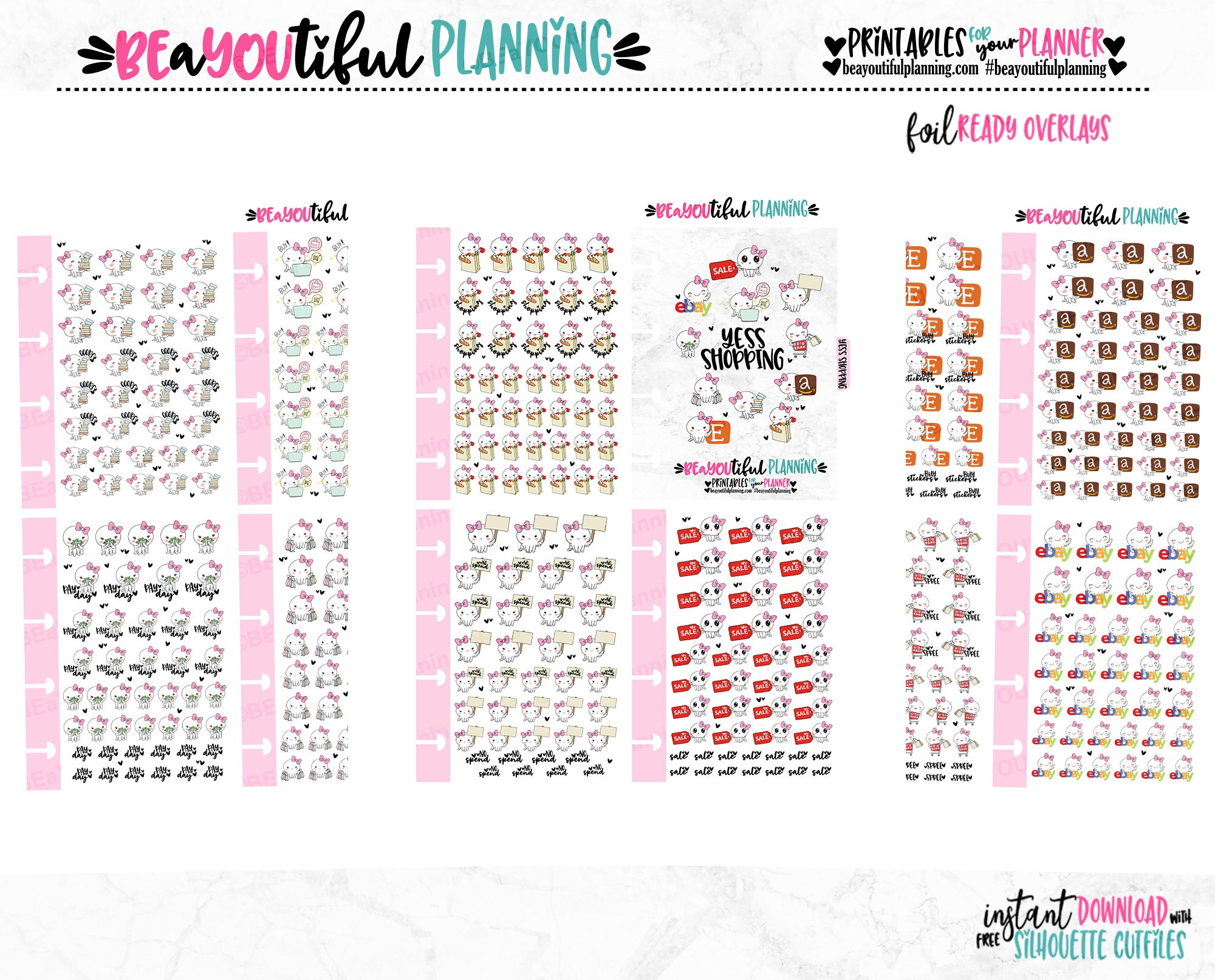 Shopping Planner Icons Foil Ready Printable Micro HP