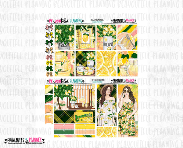 Hello Sunshine Printable Planner Stickers