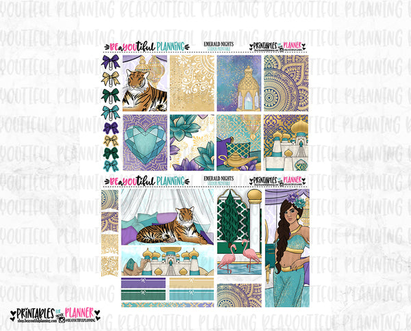 Emerald Nights Printable Planner Stickers
