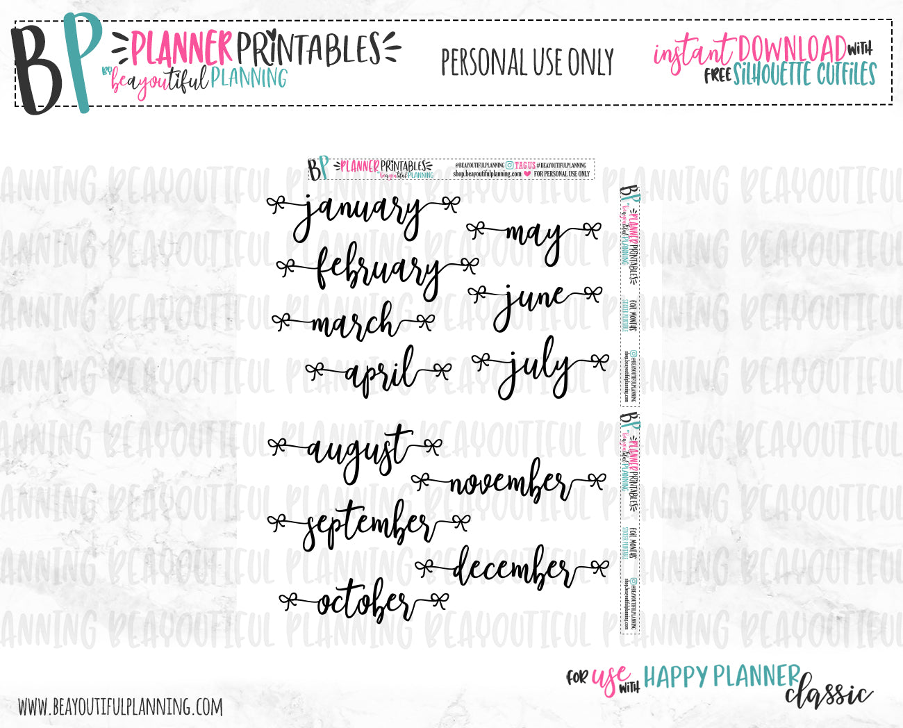 Month Overlays Printable Planner