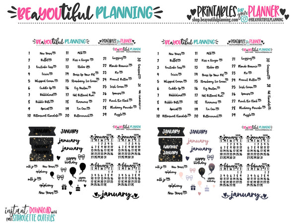 January 2019 Monthly Holiday Printable