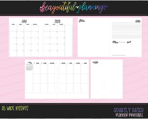 A5 Wide Vertical Q3 July 2020 - September 2020 Monthly + Weekly Dated Printable Inserts