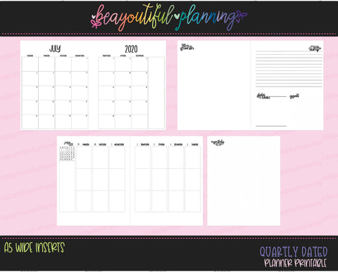 A5 Wide Q3 July 2020 - September 2020 Monthly + Weekly Dated Printable Inserts