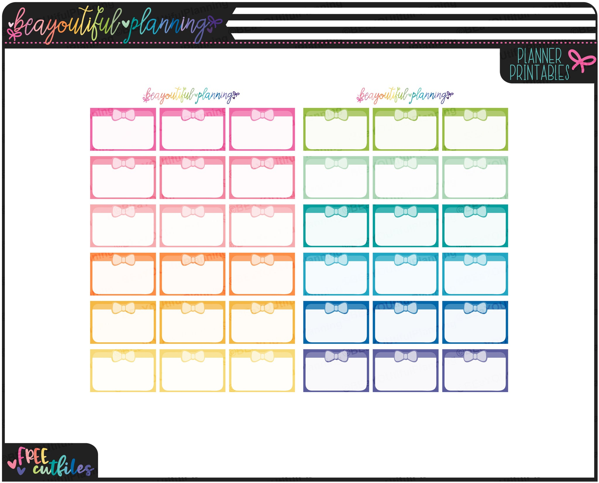 Bow Half Boxes Rainbow Functional Printables