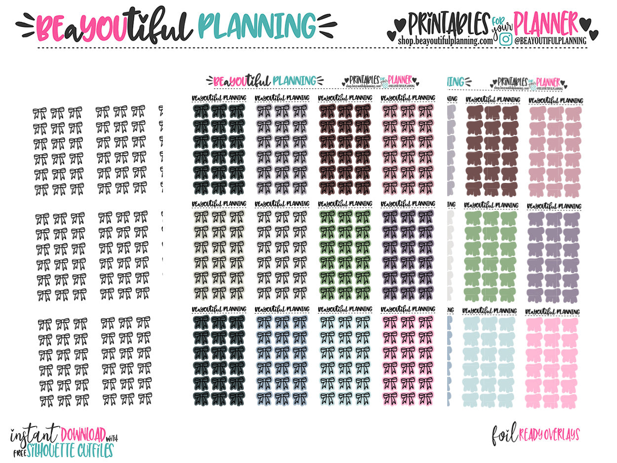 Bow Overlays Foil Ready Printable