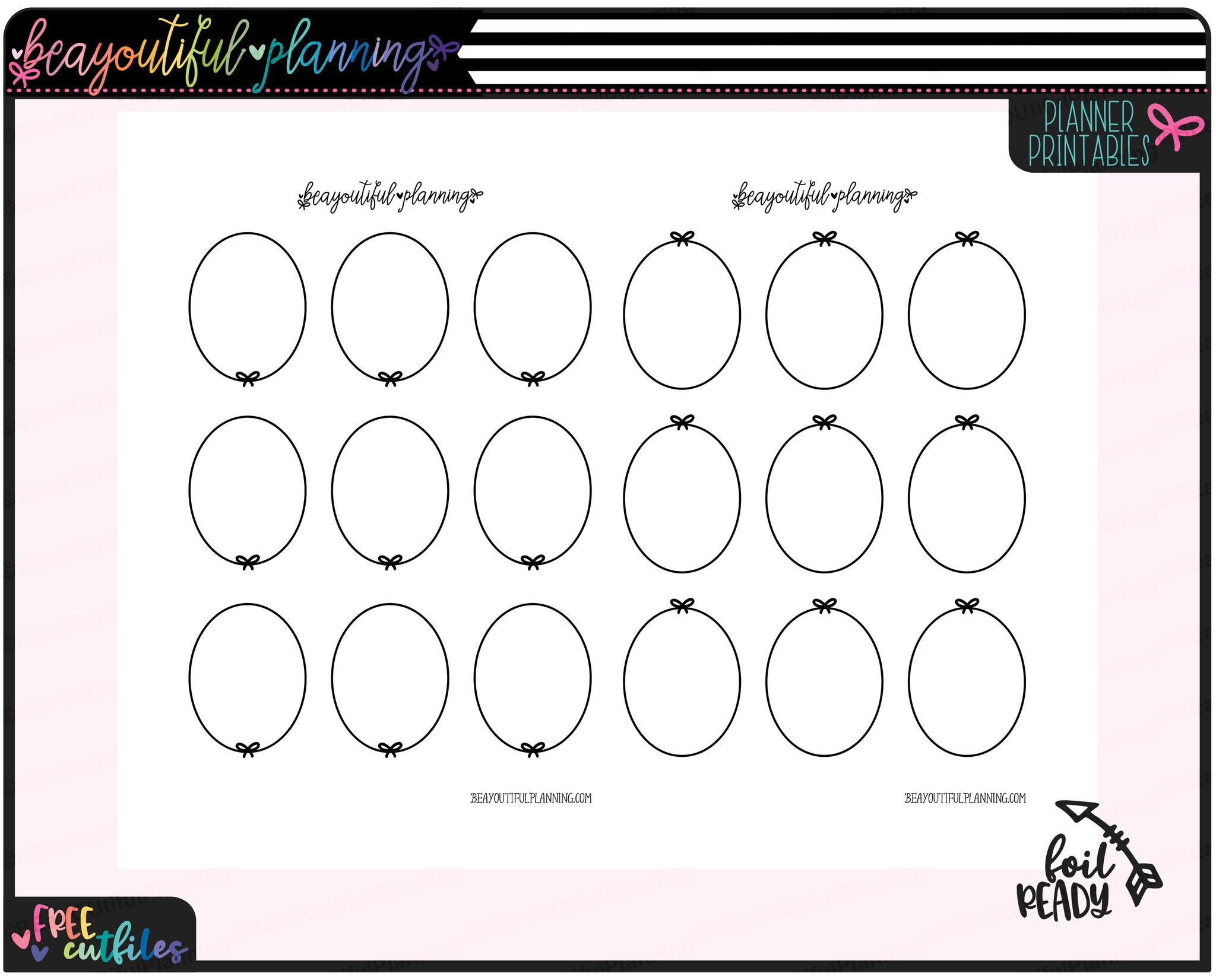 Oval Bows Foil Ready Overlay Printable