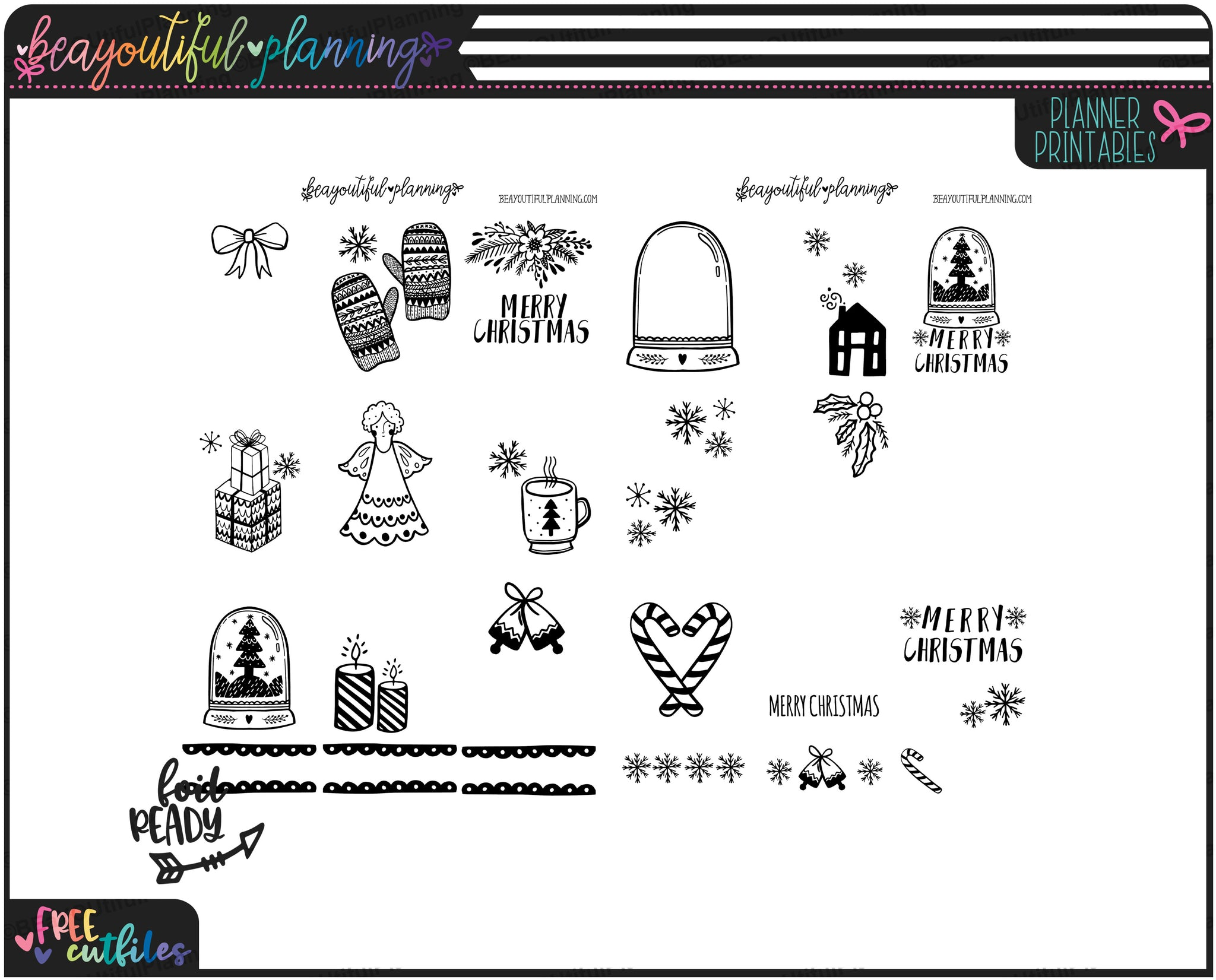 Christmas Overlays Foil Ready Printable