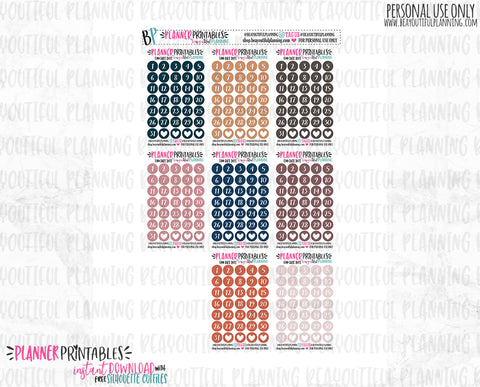 Date Dots Functional Printable *Additional Colors Available*