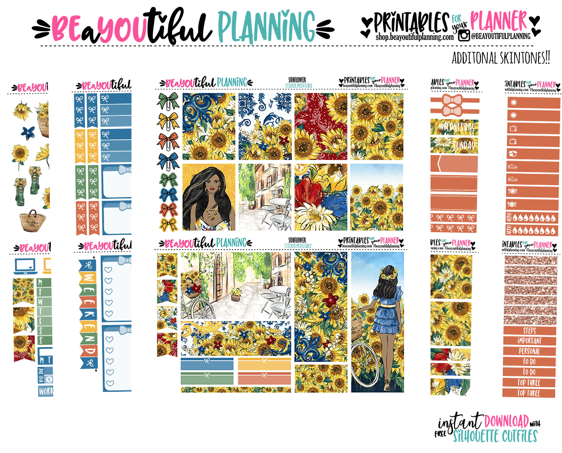Sunflower Printable Planner Stickers