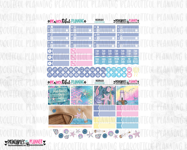 Mermaids Monthly Printable for Use with Erin Condren