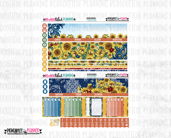 Sunflower Monthly Printable for Use with Erin Condren