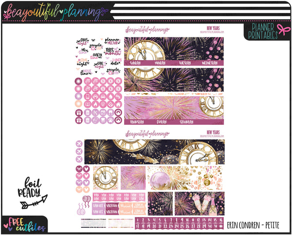 New Years Glam Monthly Printable and Matching Extras *Choose Your Planner*