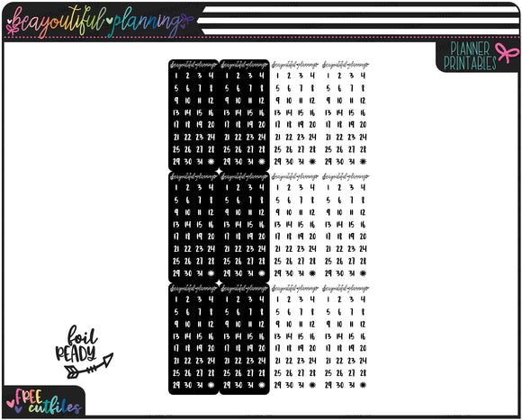 Flag Date Dots Foil Ready Printable