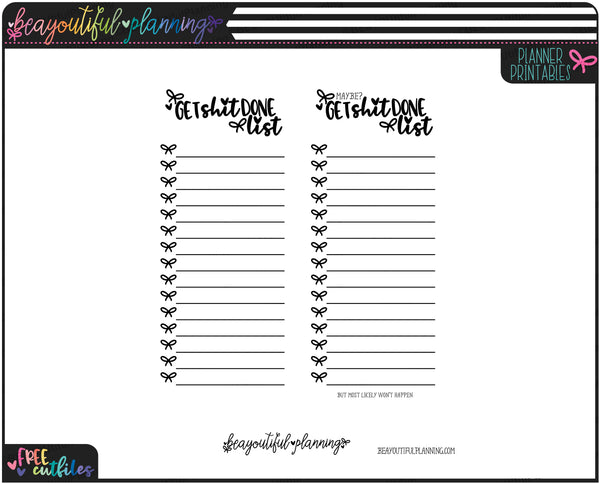Get Stuff Done Notes Page Printable