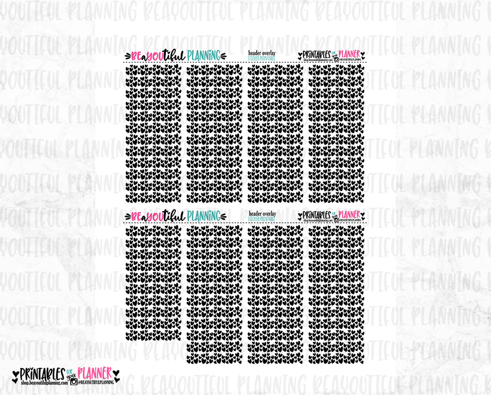 Heart Header 2 Overlays Foil Ready Printable