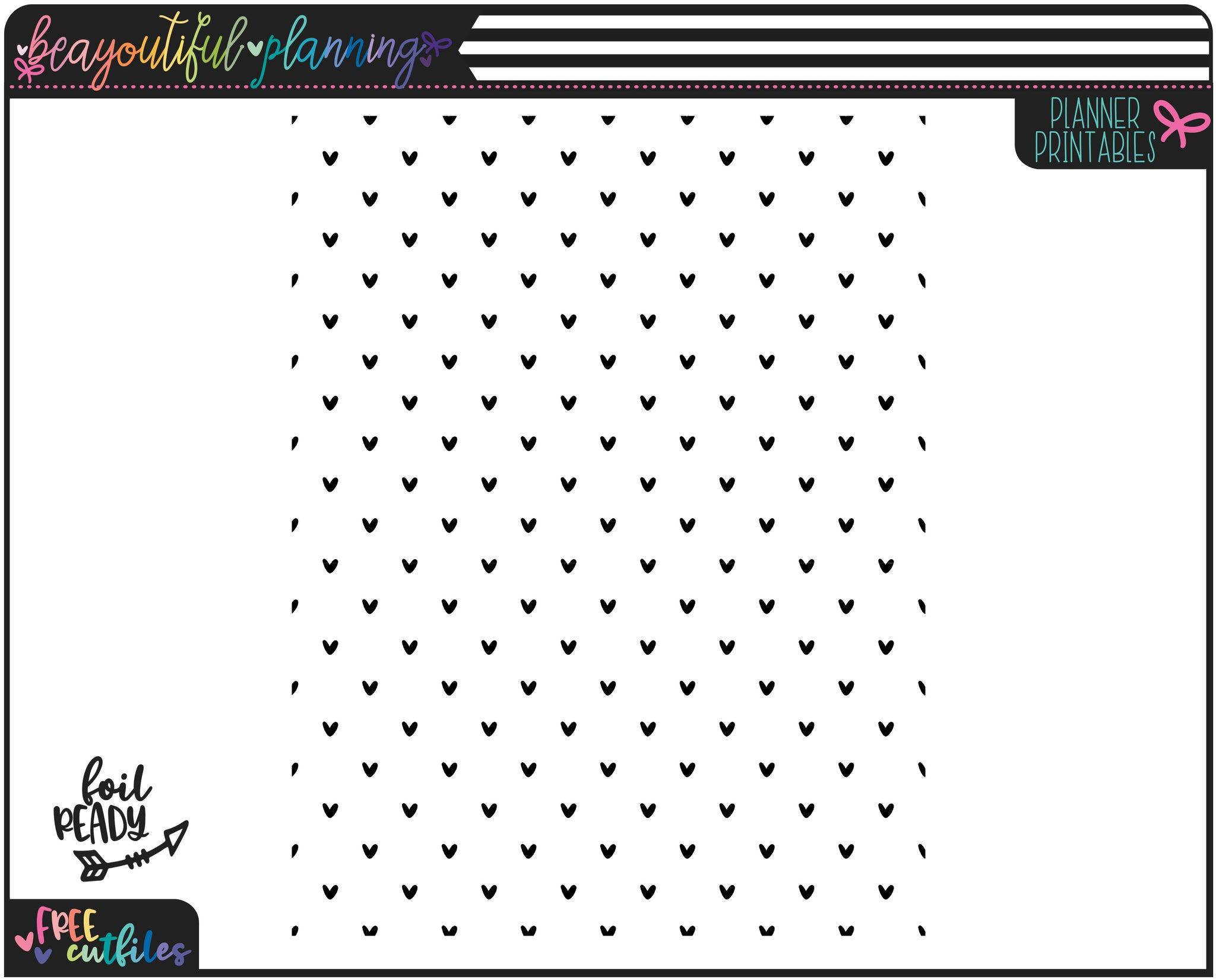 Hearts Planner Printable Vellum or Acetate