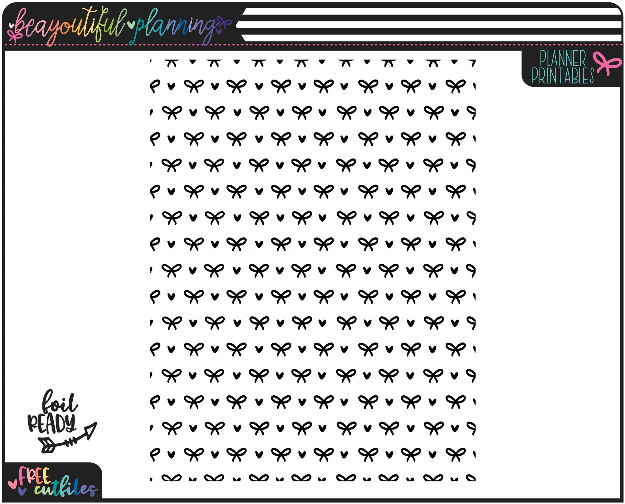 Hearts and Bows Planner Printable Vellum or Acetate