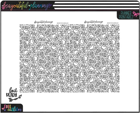 Hearts and Flowers Underlays Foil Ready Overlay Printable