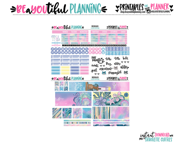 Mermaids Monthly Printable for Use Hobo Weeks