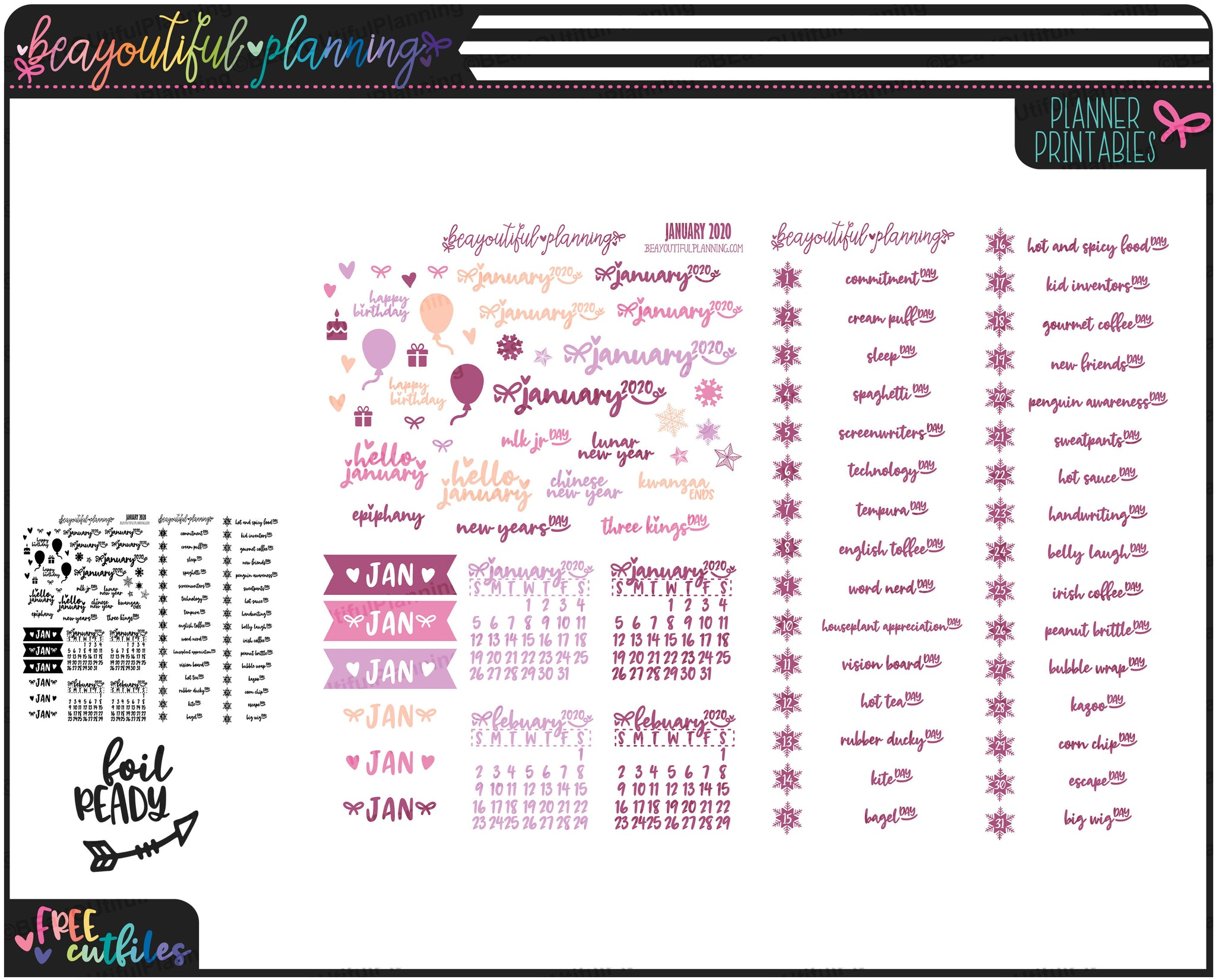 January 2020 Monthly Wacky Holiday Printable
