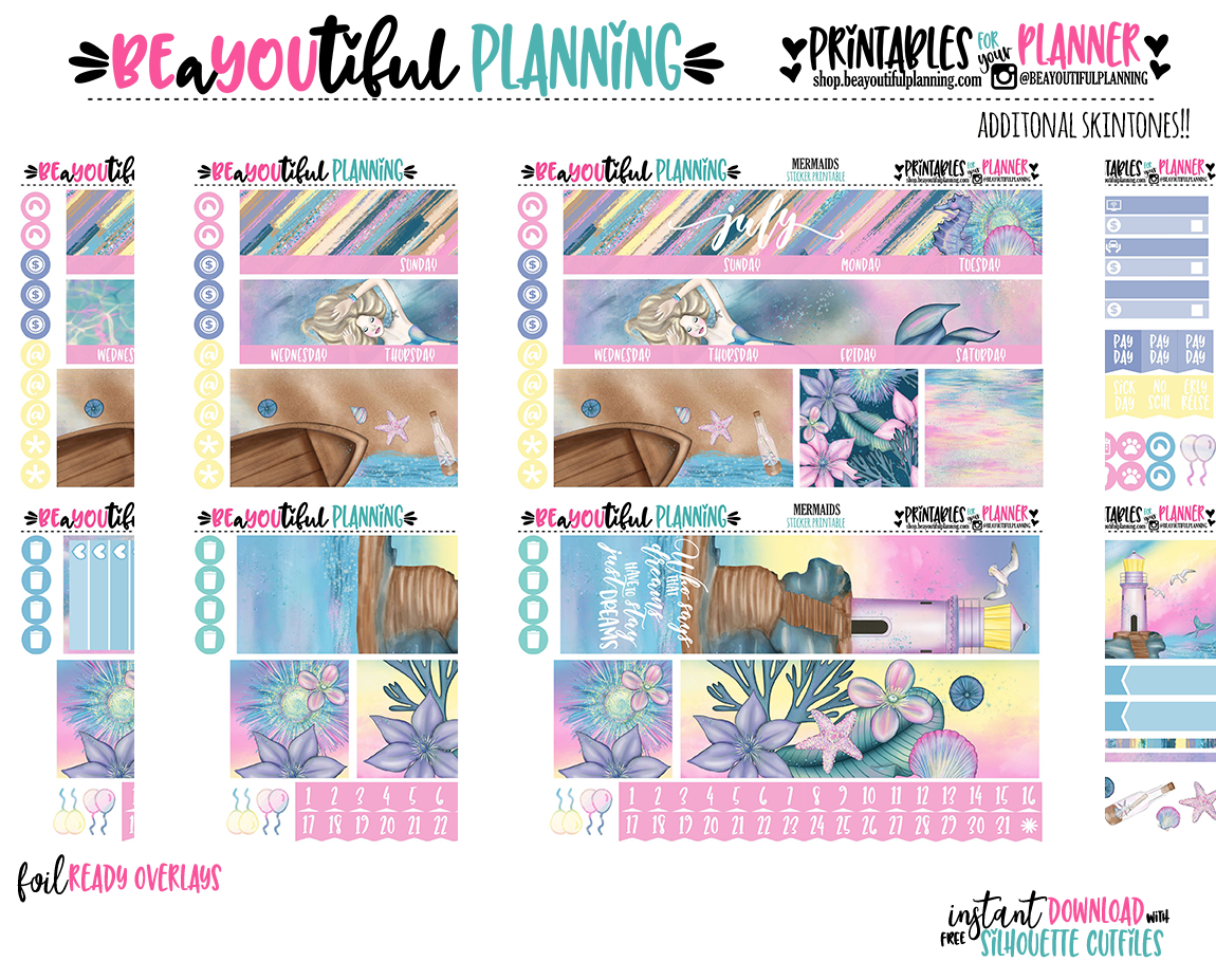 Mermaids Monthly Printable for Use with Happy Planner