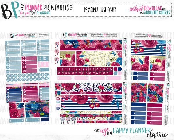 Crimson Rose Monthly Printable