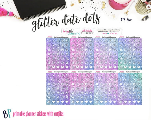Glitter Date Dots Printable