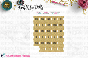 Gold Monthly Tabs Printable