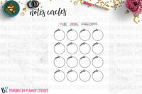 Events Notes Page Circles Printable