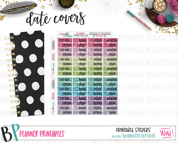 Rainbow Glitter Date Covers Printable