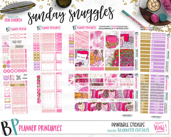 Sunday Snuggles Printable Planner Stickers