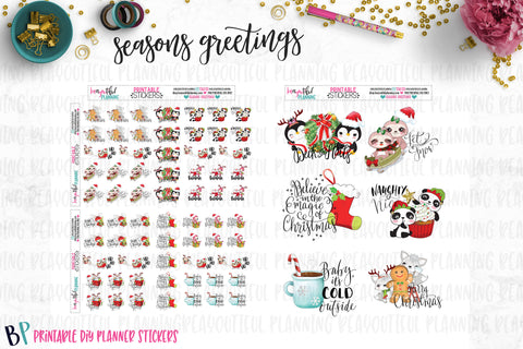 Seasons Greetings Sticker and Die Cut Printable