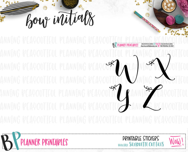 Bow Initial Foil Ready Printable