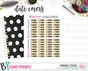 Glitter Date Covers Printable