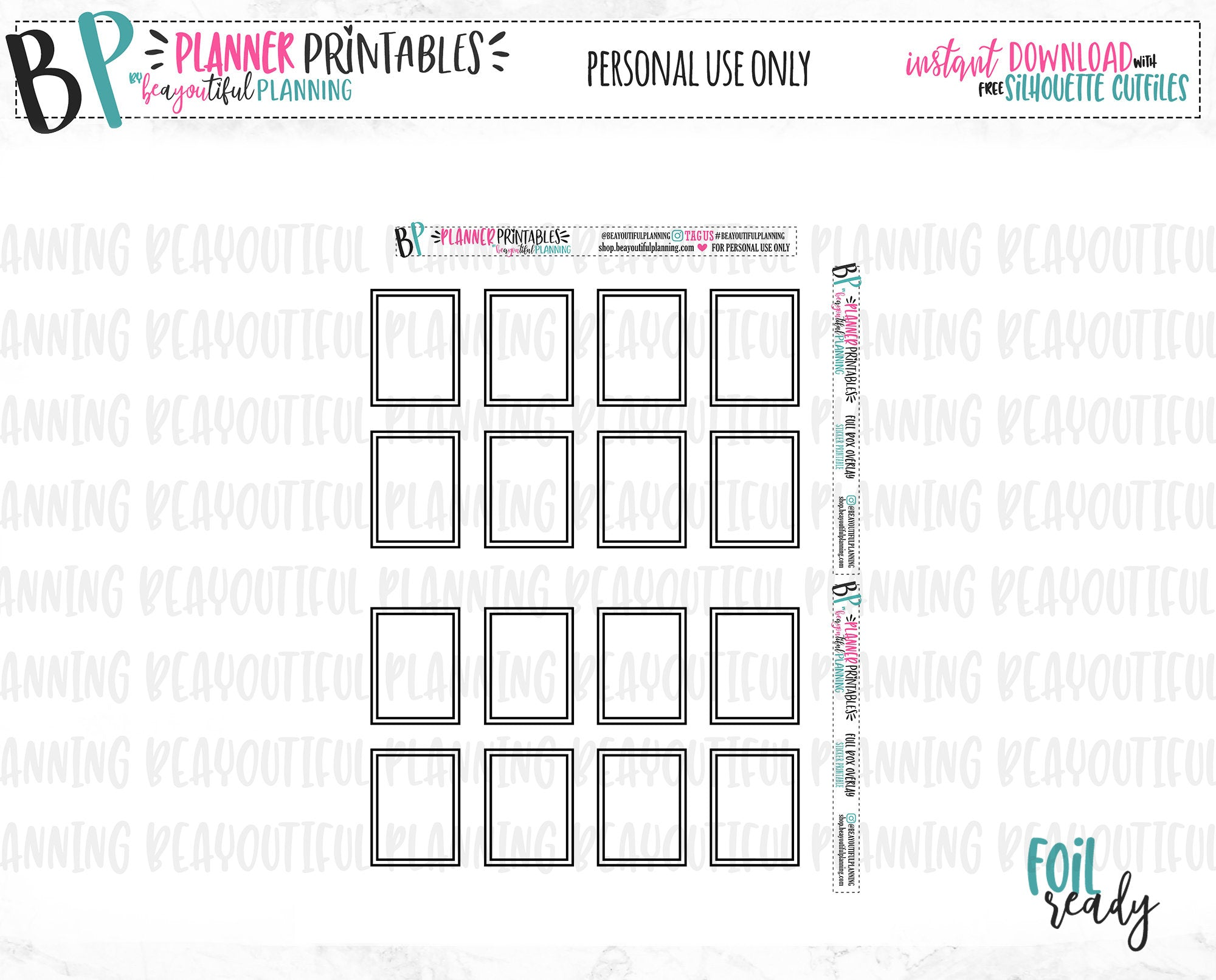 Double Line Full Box Overlay Printable