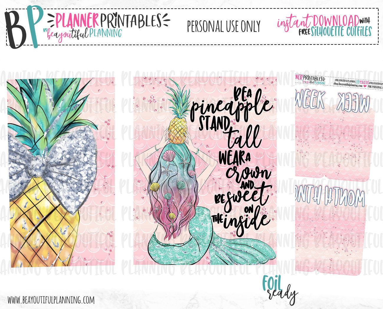 Pineapple Cover & Bookmarks Printable