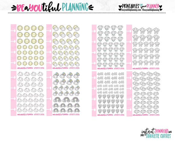 Weather Icons Printable Planner Stickers