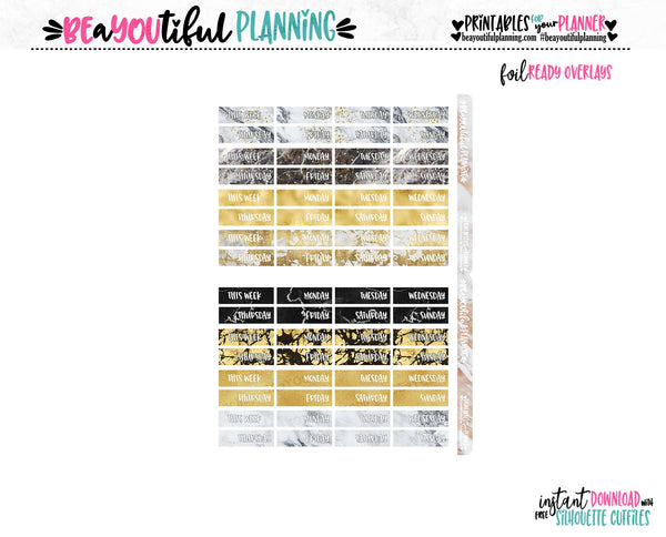 Date Covers Gold Marble Functional Printable